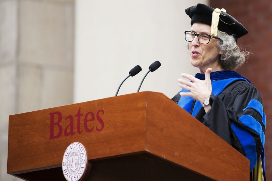 Professor of Sociology Emily Kane gestures while delivering the Convocation Address on the Historic Quad on Sept. 5, 2017. (Theophil Syslo/Bates College)