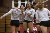 Jacqueline Forney '18 (15), Taylor Stafford-Smith '20 (9), Angel Echipue '21 (16), and Claire Naughton '19 (8) react after a point. (Theophil Syslo/Bates College)