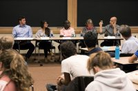 Responding to Charlottesville: Historical Perspectives at Pettengill G21 on September 18th, 2017.  A roundtable discussion with Dr. Andrew Baker, Bates College, Dr. Margaret Creighton, Bates College, Dr. Patrick Otim, Bates College, Robin McDowell, Harvard University, and moderated by Dr. Christopher Petrella, Bates College. Sponsored by the Department of History and the Office of Equity and Diversity.