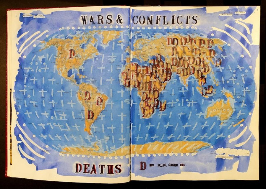 "Dan Mills' painting ""Current Wars and Conflicts Killed by Continent, Book 02,"" ink, watercolor, and gouache on atlas, 15 1/4 x 22 1/2 x 2 inches."