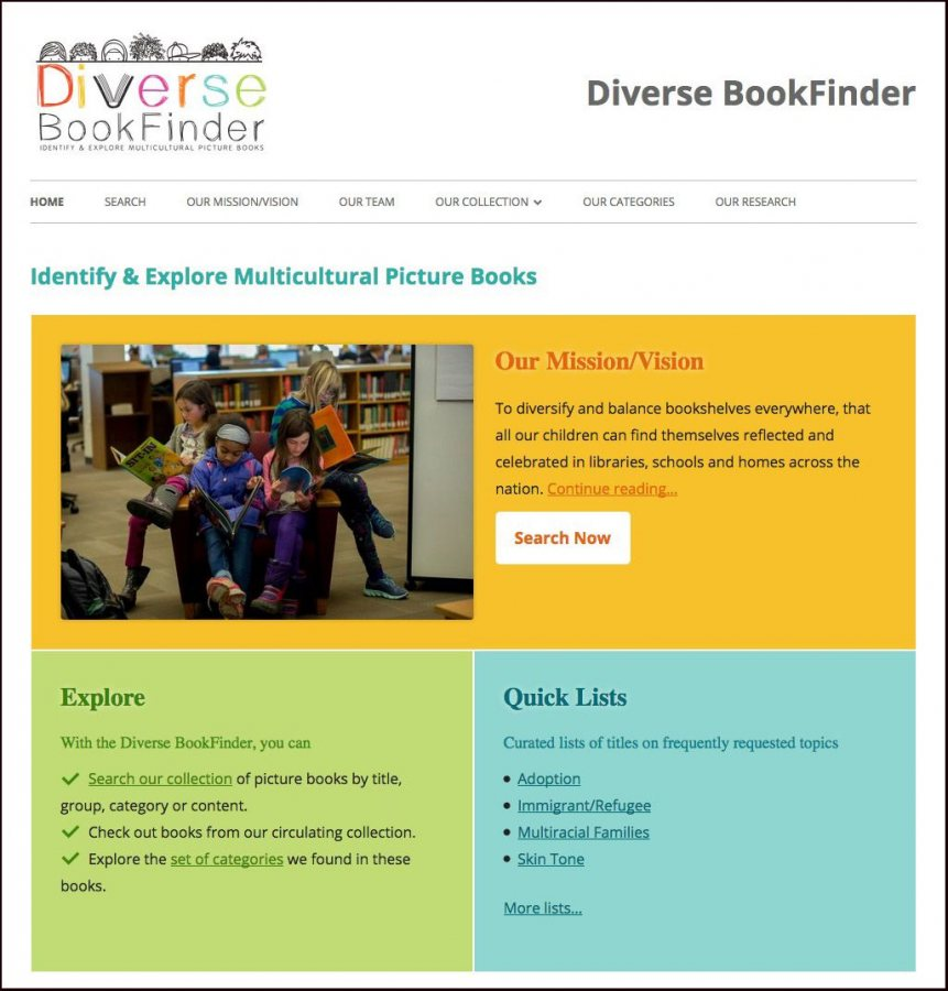 The online Diverse BookFinder website allows users to search books by title, racial group depicted, where the story takes place, and the narrative message within.