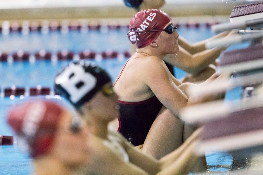 Shown in January 2017, Bates swimmers and divers meet Wesleyan and Trinity on Nov. 18. (Josh Kuckins/Bates College)