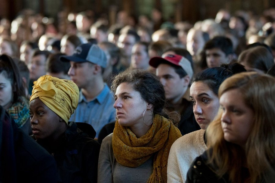 Students, staff, faculty, and members of the community filled the Peter J. Gomes Chapel for the Martin Luther King Jr. Day keynote speech at Bates. (Phyllis Graber Jensen/Bates College)