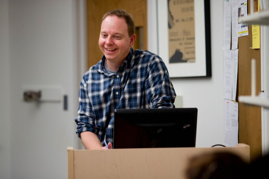 Associate Professor of Rhetoric, Film, and Screen Studies Jon Cavallero is pictured during a 2014 class. (Phyllis Graber Jensen/Bates College)