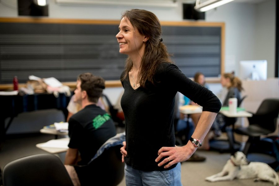 "Associate Professor of Education Mara Tieken teaches ""Community Organizing for Social Justice"" in May 2018. (Phyllis Graber Jensen/Bates College)"