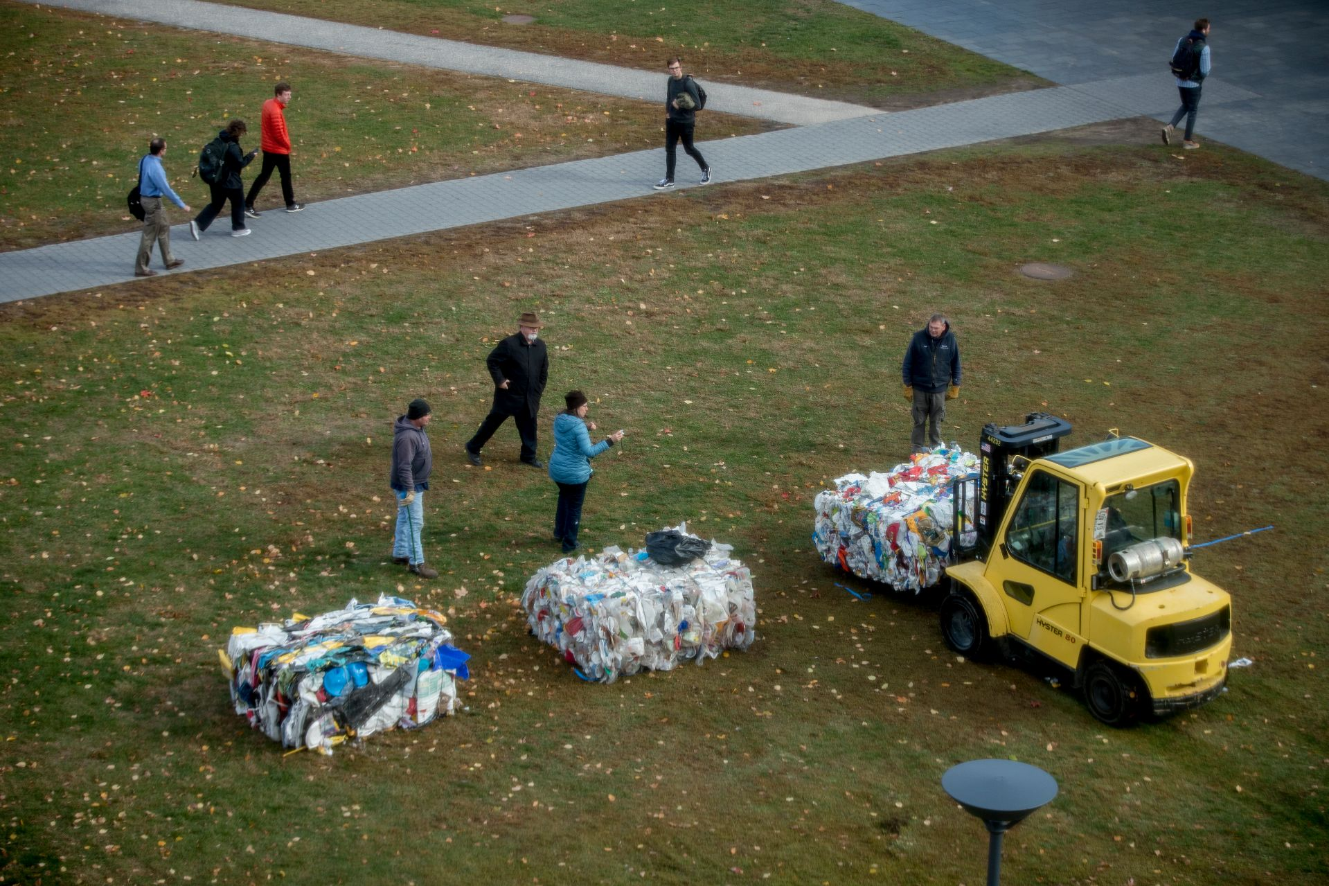Five bales of plastic recyclables sit outside Commons  But