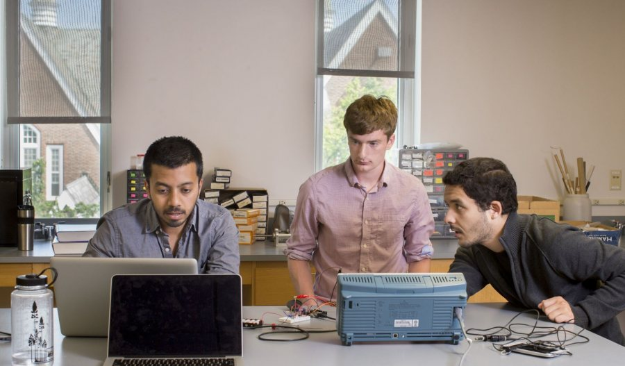 "Ian Wax '19, researching ""Modeling the Indian Monsoon"" and Salim Ourari '18, researching ""Designing and Building an Aerial Instrument to Measure Sea Ice Thickness,"" both working with Visiting Assistant Professor Raj Saha, a 2003 Bates alumnus."