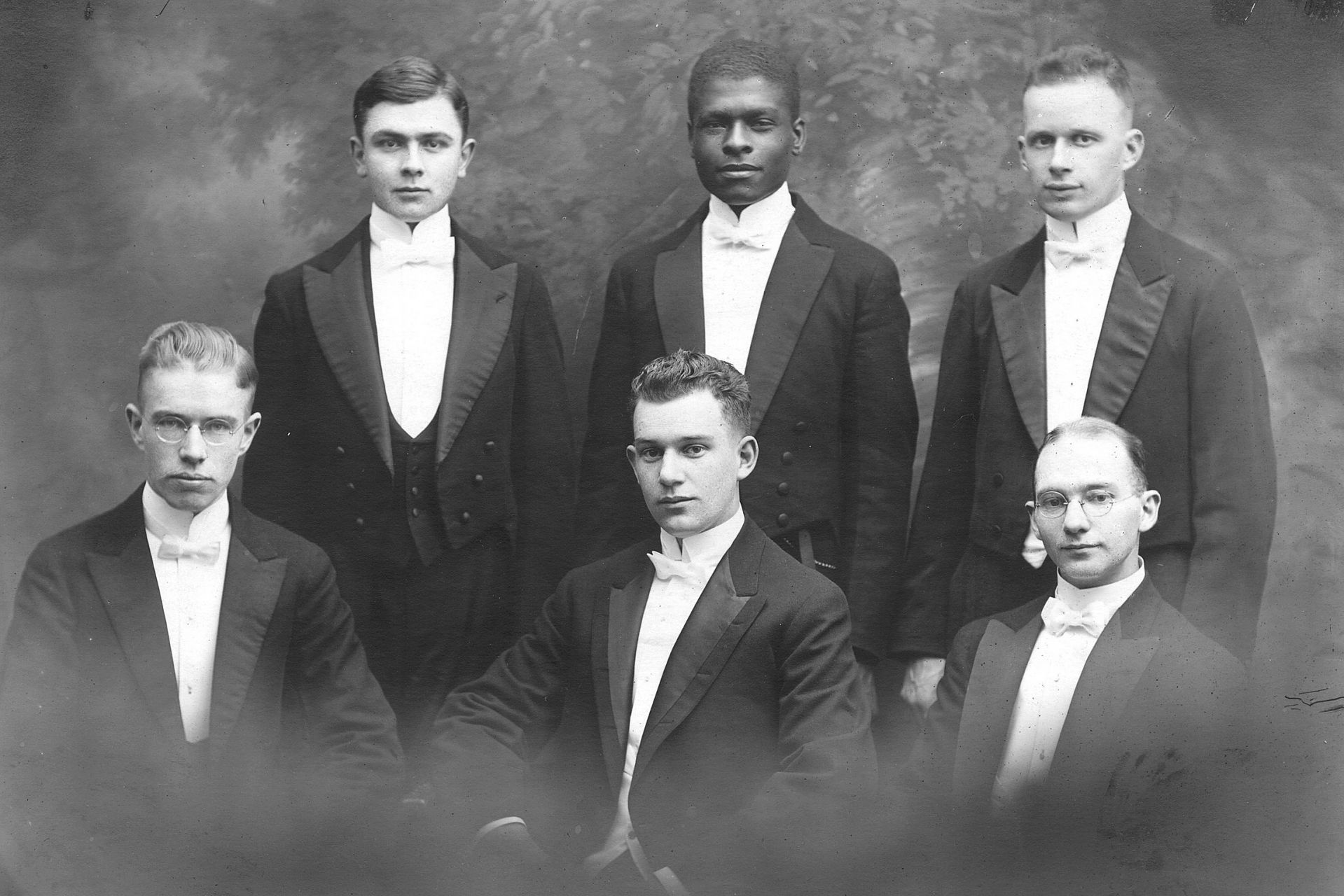 Benjamin E. Mays, middle of the back row, poses with a 1919 debate team. (Muskie Archives and Special Collections Library)