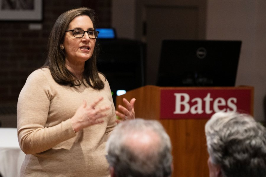 The Mueller investigation is neither a witch hunt nor a crusade to save America, Joyce White Vance '82 said during a public talk on March 21 in the Muskie Archives. Instead, it's a test of the rule of law. (Theophil Syslo/Bates College)