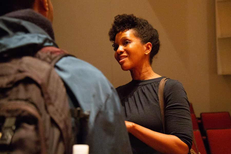 Imani Perry speaks with a student at her talk on March 7. (Samuel Mironko '21/Bates College)