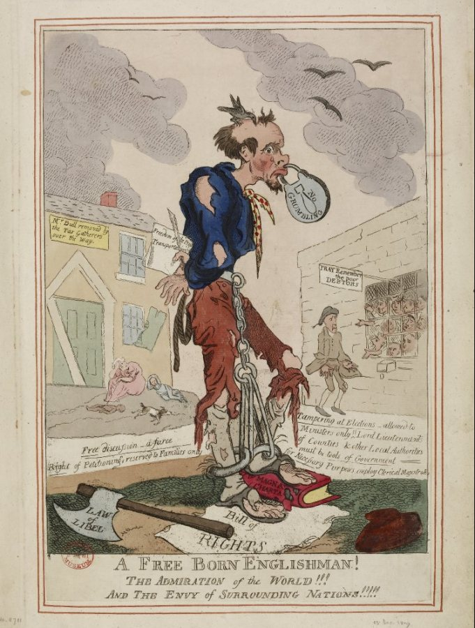 "British society grappled often and publicly with the tension between freedom of speech and the right to reputation. In this 1795 political cartoon, possibly related to a pair of laws restricting public meetings, a man's mouth is shut by a padlock reading ""No grumbling."" (The British Museum)"
