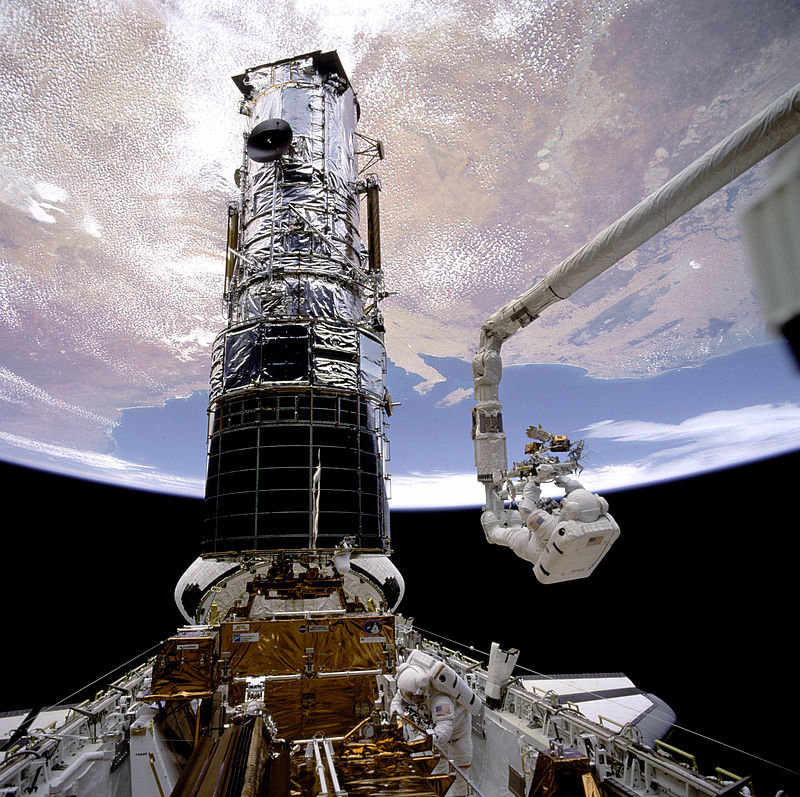 Astronauts F. Story Musgrave and Jeffrey A. Hoffman repair parts of the Hubble Space Telescope in 1993. The telescope provided data for a three-year project, headed by Assistant Professor of Physics and Astronomy Aleksandar Diamond-Stanic, on galaxies with extreme behaviors. (Wikimedia Commons)