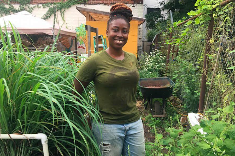 Yemi Amu, co-founder of Oko Farms in Brooklyn, speaks about food justice on April 1.