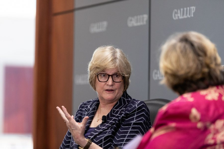 """Purposeful work is work that aligns how you act in the world with your deepest interests, values, and strengths."".Earlier today at Gallup World Headquarters in Washington, D.C., President Clayton Spencer talked to New York Times Assistant Managing Editor Carolyn Ryan '86 about the release of a new study in collaborati"