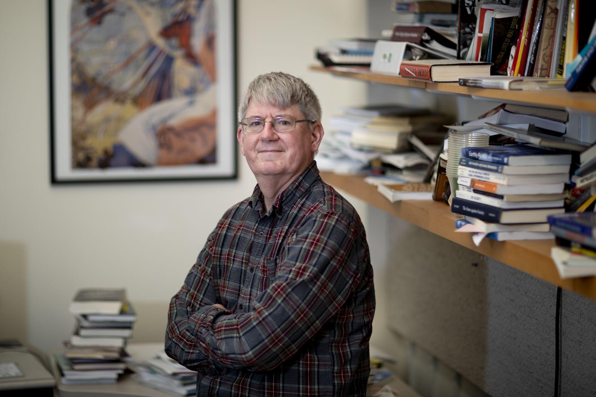 Professor of Politics James Richter in his office (Phyllis Graber Jensen/Bates College)