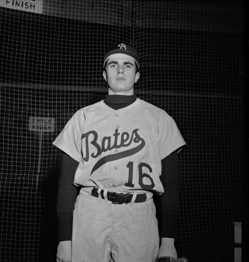 A pitcher for Bates, David Nash '68 adopts a serious look for his baseball portrait in spring 1967. (Muskie Archives and Special Collections Library)
