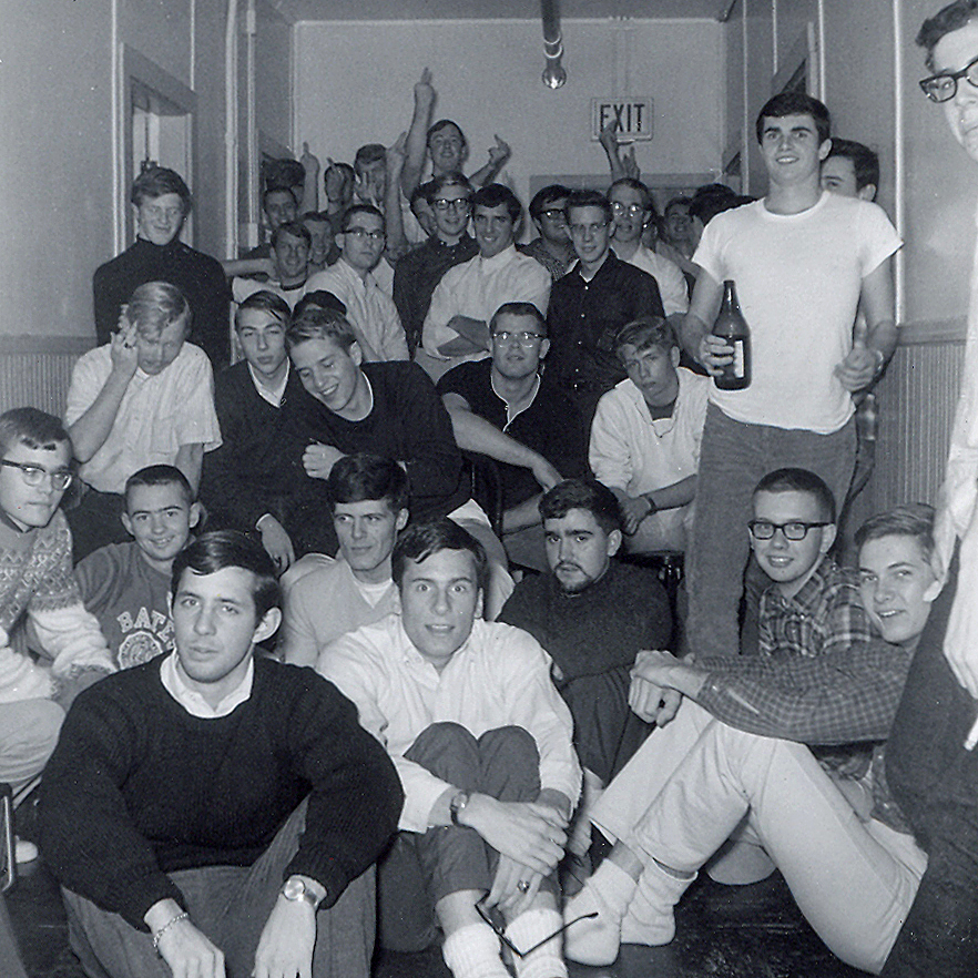 David Nash '68 (upper right, beer in hand) and friends pose in West Parker Hall in October 1965. (Photograph by Bill Bensch '67)