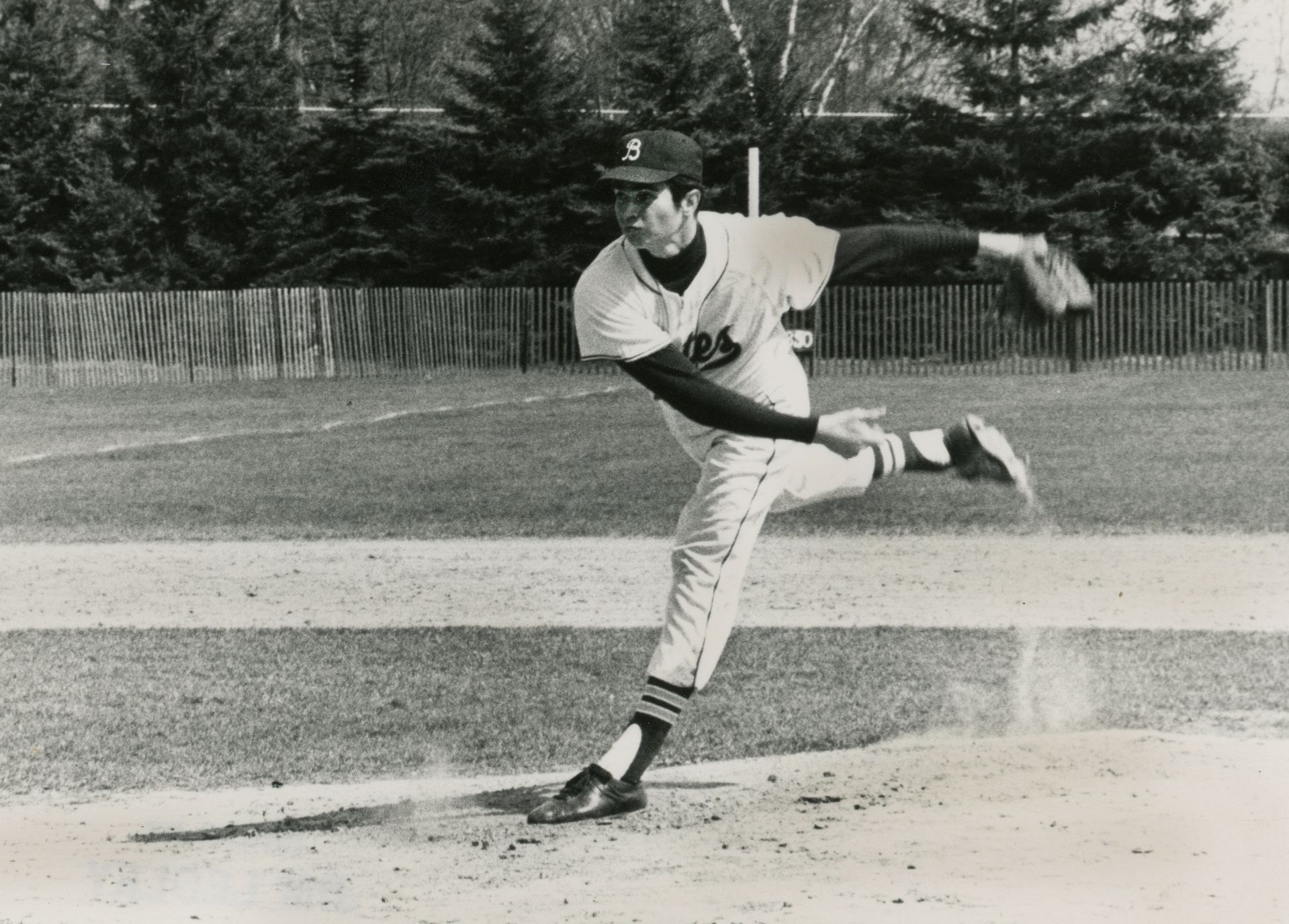 David Nash '68 pitching for Bates. (Photograph by Jim Ledley '69)