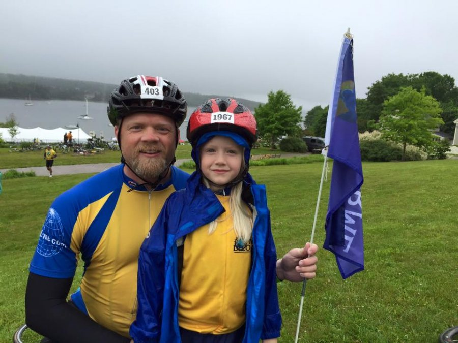 Chip Noble '97 and his daughter Abby, now 10, rode the Trek Across Maine together in XXX. This year, his other daughter, 7-year-old Emma, is old enough to ride the Trek with them. (Courtesy of Chip Noble)