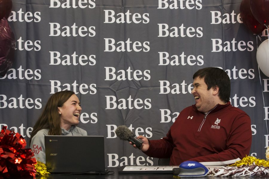 On the 2018 Great Day to Be a Bobcat broadcast, Sarah Rothmann '19 talks to Assistant Sports Information Director Aaron Morse about her work on <em>The Bates Student</em>. (Theophil Syslo/Bates College)