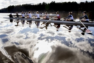 "Rowing teams at practice.batescollege's profile picturebatescollegeVerifiedLiked by mjmilliken and batescollege's profile picturebatescollegeVerified""It's a dream."".— Peter Steenstra, head rowing coach at Bates, says of the stretch along the Androscoggin River in Greene that Bates rowers call home..This afternoon afforded the men's and women's teams delightful conditions in which to practice for Sunday's upcoming President's Cup, the signature home regatta hosted by Bates with Bowdoin and Colby."