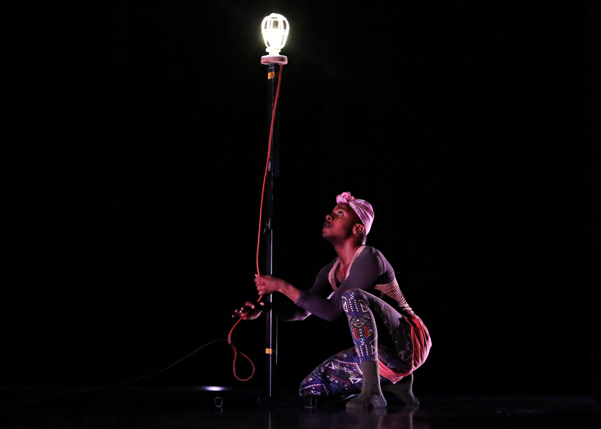 Ya-Ya Fairley '12 used a ghostlight as a prop in the center of the stage, dancing in the small spot of light it cast.