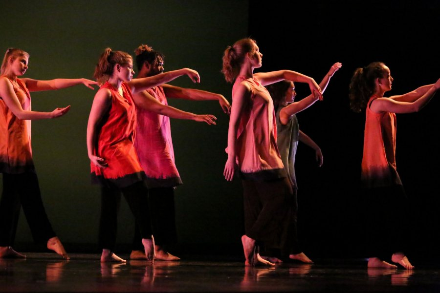 """Dancers perform """"Passing,"""" a piece choreographed as a tribute to Marcy Plavin's life and legacy. ((Samuel Mironko '21 for Bates College)"""
