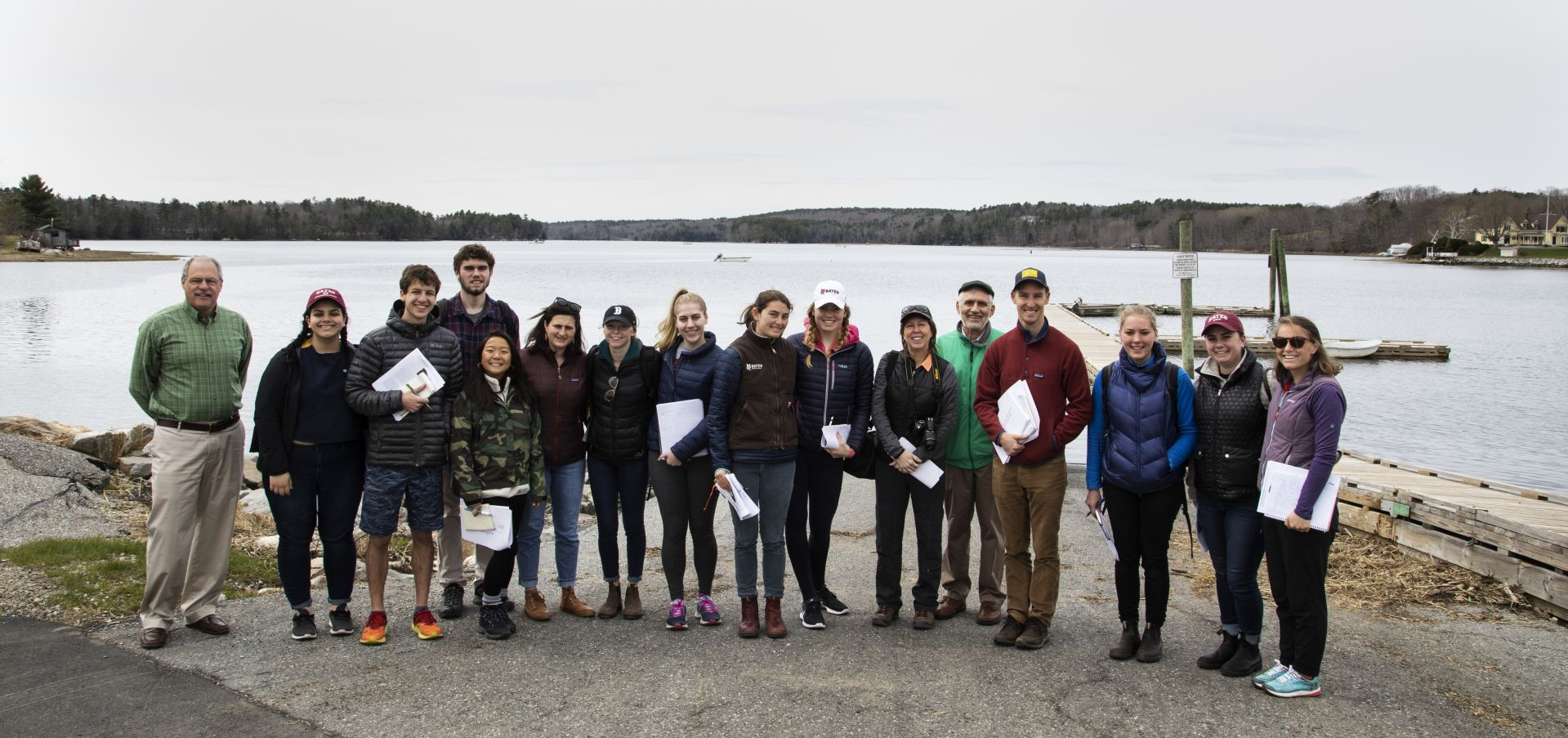 Bates students visit Damariscotta to meet with the town manager and talk about sea level rise and climate change impacts while participating in Lynne Lewis and Francis Eanes short term course 'In Search of Higher Ground' on May 1, 2019. In Search of Higher Ground: Sea Level Rise, Coastal Flooding and the Future of the Eastern Seaboard Climate change, increased storm frequency and intensity, and sea level rise have created an urgent need for adaptation planning for many communities along the U.S. eastern seaboard. In this course students examine adaptation strategies and vulnerability assessments with a goal of understanding social and economic vulnerability and the complexities of coastal retreat. Utilizing climate adaptation planning tools, mapping technology, and on the ground observation, students examine adaptation strategies including managed retreat, buyouts, living shorelines, and and green infrastructure. Students consider the current and future role of FEMA's national flood insurance program as a major mechanism for incentivizing resilient or reckless coastal development. Based in experiential learning, students engage in discussions with experts, practitioners, and residents in highly vulnerable coastal areas in Maine, as well a ten-day trip to coastal communities in Virginia and North Carolina. Recommended background: ECON 250 or other statistics course. Prerequisite(s): ECON 101 or 222, or ENVR 209. New course beginning Short Term 2019. 1.000 Credit hours