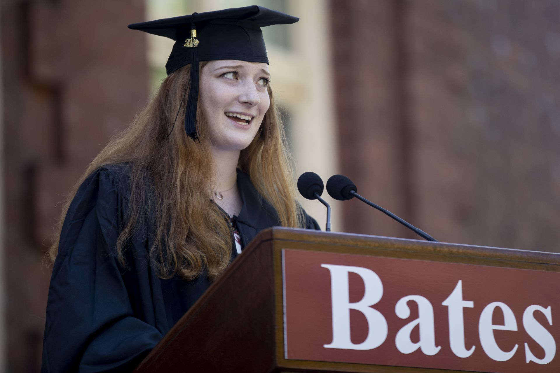 The senior speaker, Claire Naughton, used the story of Icarus to remind her classmates to set their sights high as they begin the next chapter of their lives. (Phyllis Graber Jensen/Bates College)