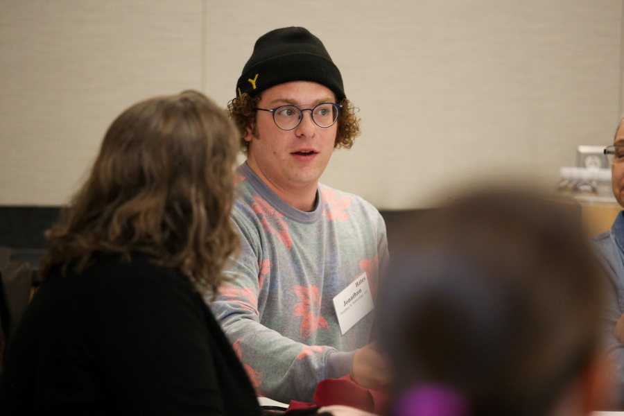 """""""Bates gave me a 'fight tooth and nail' attitude,"""" said Jonathan Schwolsky '15, an independent filmmaker, theater director, and photographer. (Samuel Mironko '21 for Bates College)"""