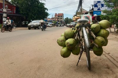 O'Shea, Maggie SFS Cambodia Fall 2018 This is a photograph from the streets of Siem Reap (our home base!) in which someone left their coconut-filled bike parked outside a storefront.This photo was selected for the 2019 Barlow Off-Campus Photography Exhibition and shown at the 2019 Mount David Summit on March 29, 2019.
