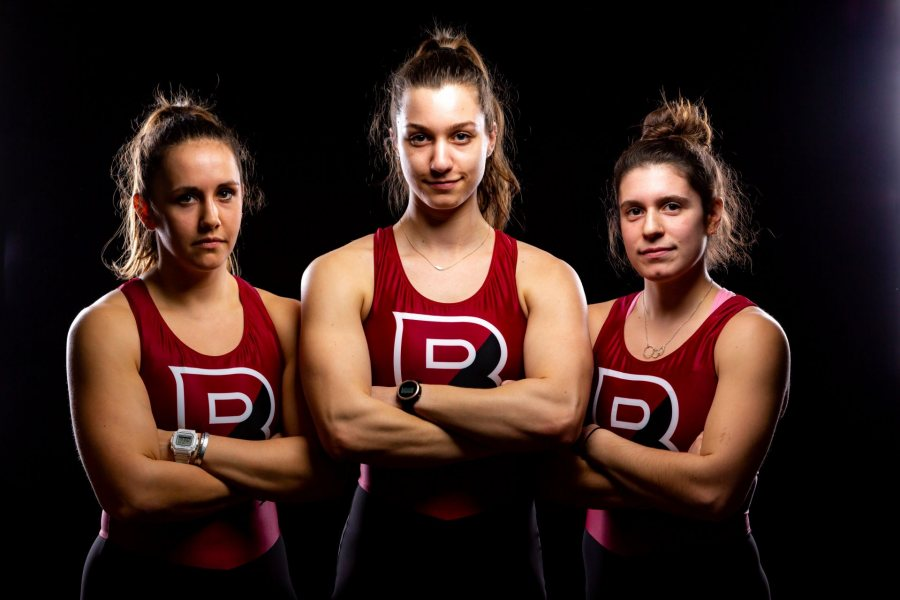 From left, Sophia Claus, Sophia Rintell, and Claudia Glickman were the 2019 co-captains for Bates women's rowing. (Brewster Burns for Bates College)