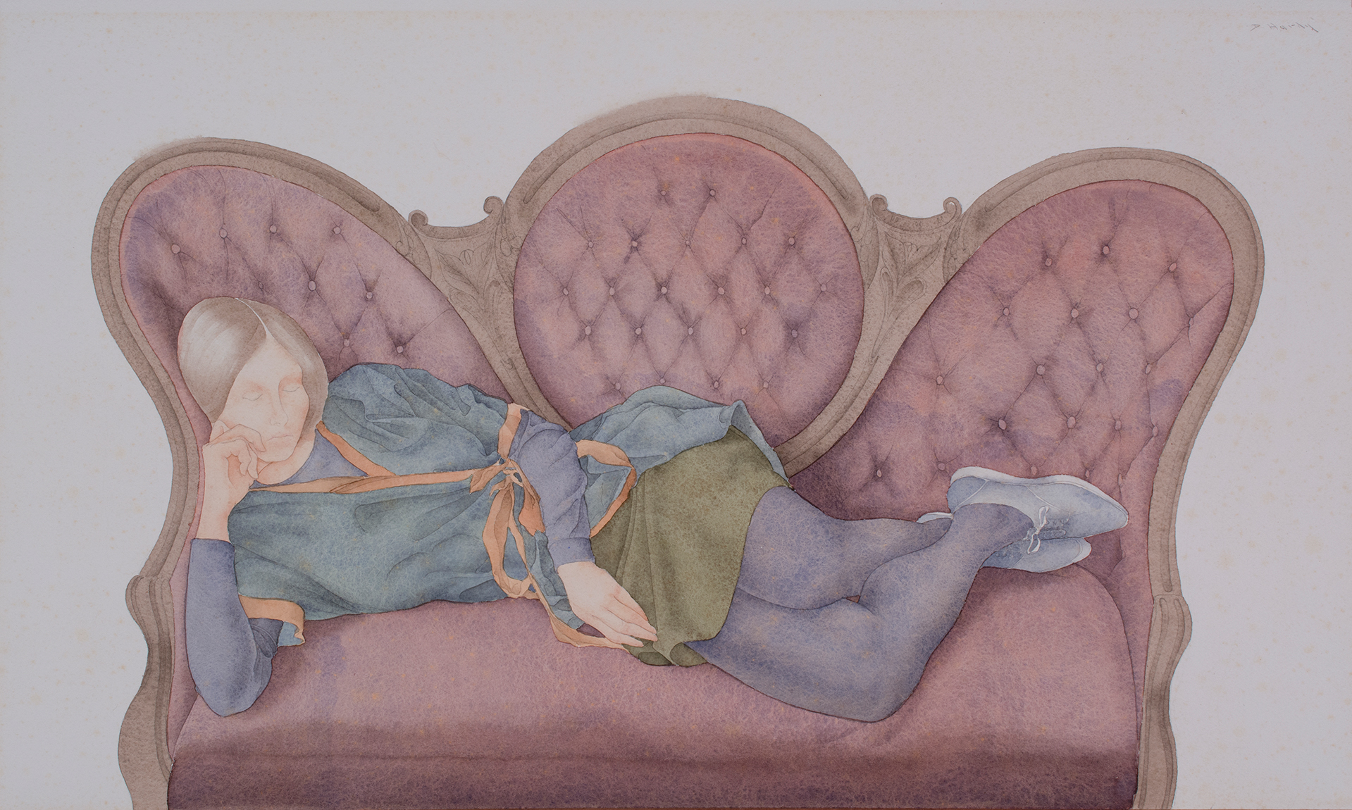"""Reclining Figure on Victorian Couch"" is a watercolor on paper, c. 1966, by DeWitt Hardy. (Ogunquit Museum of Art)"