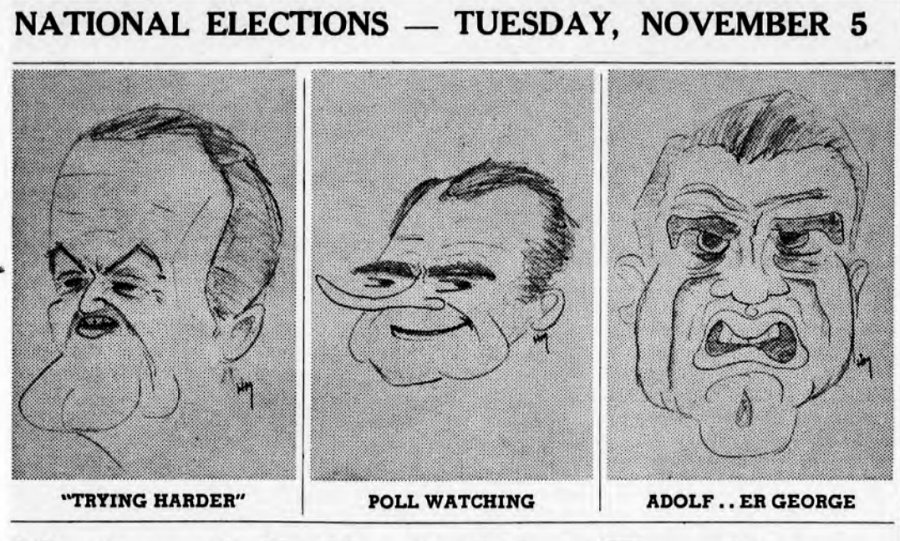 Depicting candidates Hubert Humphrey, Richard Nixon, and George Wallace, this uncredited political cartoon appeared in The Bates Student the week before the 1968 presidential election.