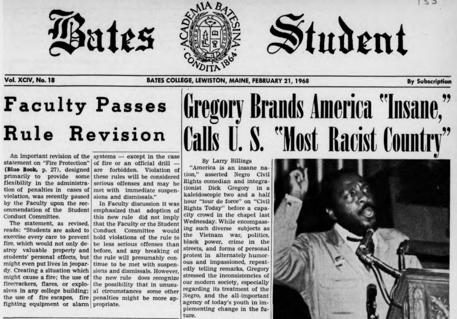 """Dick Gregory's talk at Bates in February 1968 was described as a """"tour de force on civil rights today"""" by The Bates Student."""