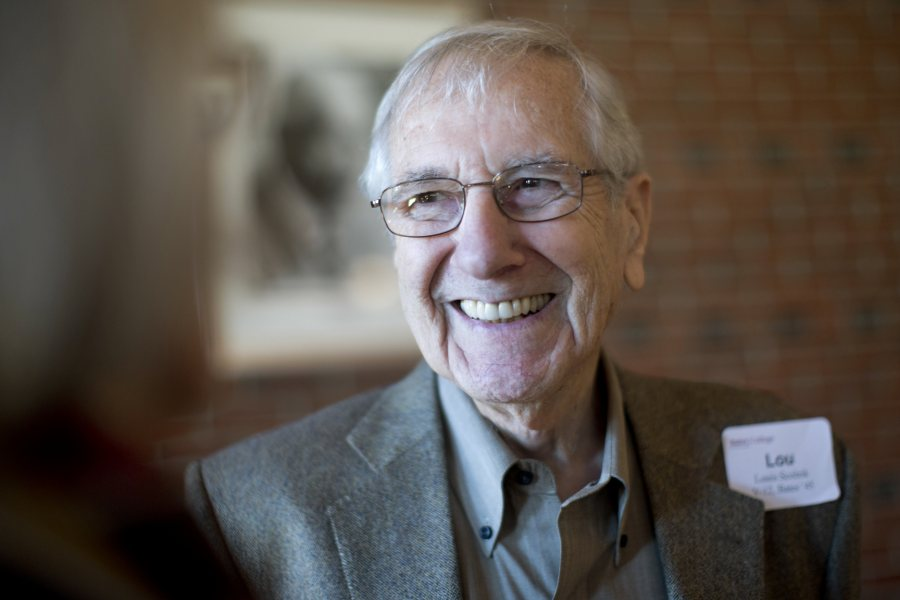 Louis Scolnik '45 is seen in 2013 at the annual luncheon for graduates of the Navy V-12 officer training program stationed at Bates during World War II.  (Phyllis Graber Jensen/Bates College)