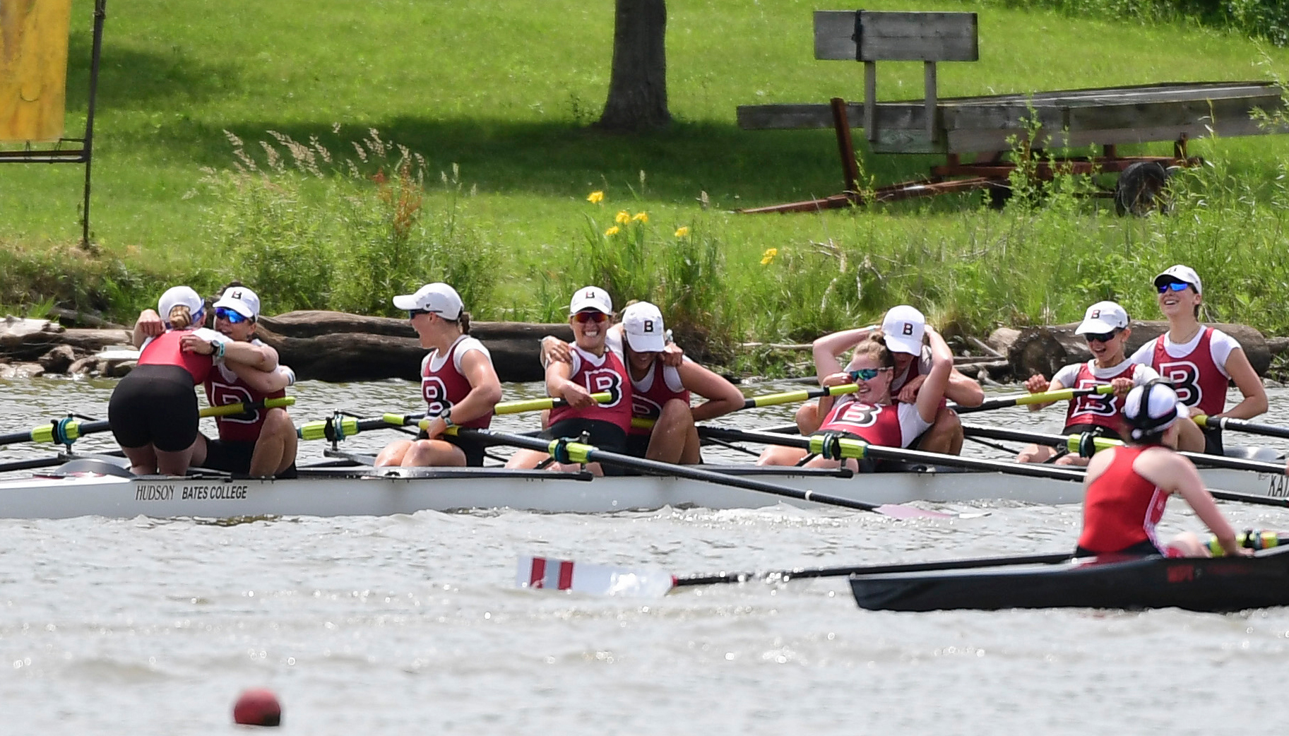 INDIANAPOLIS, IN - JUNE 01: Bates College celebrates winning the First Eights Grand Final during the Division III Women's Rowing Championship held at the Indianapolis Rowing Center on June 1, 2019 in Indianapolis, Indiana. (Photo by Justin Tafoya/NCAA Photos via Getty Images)