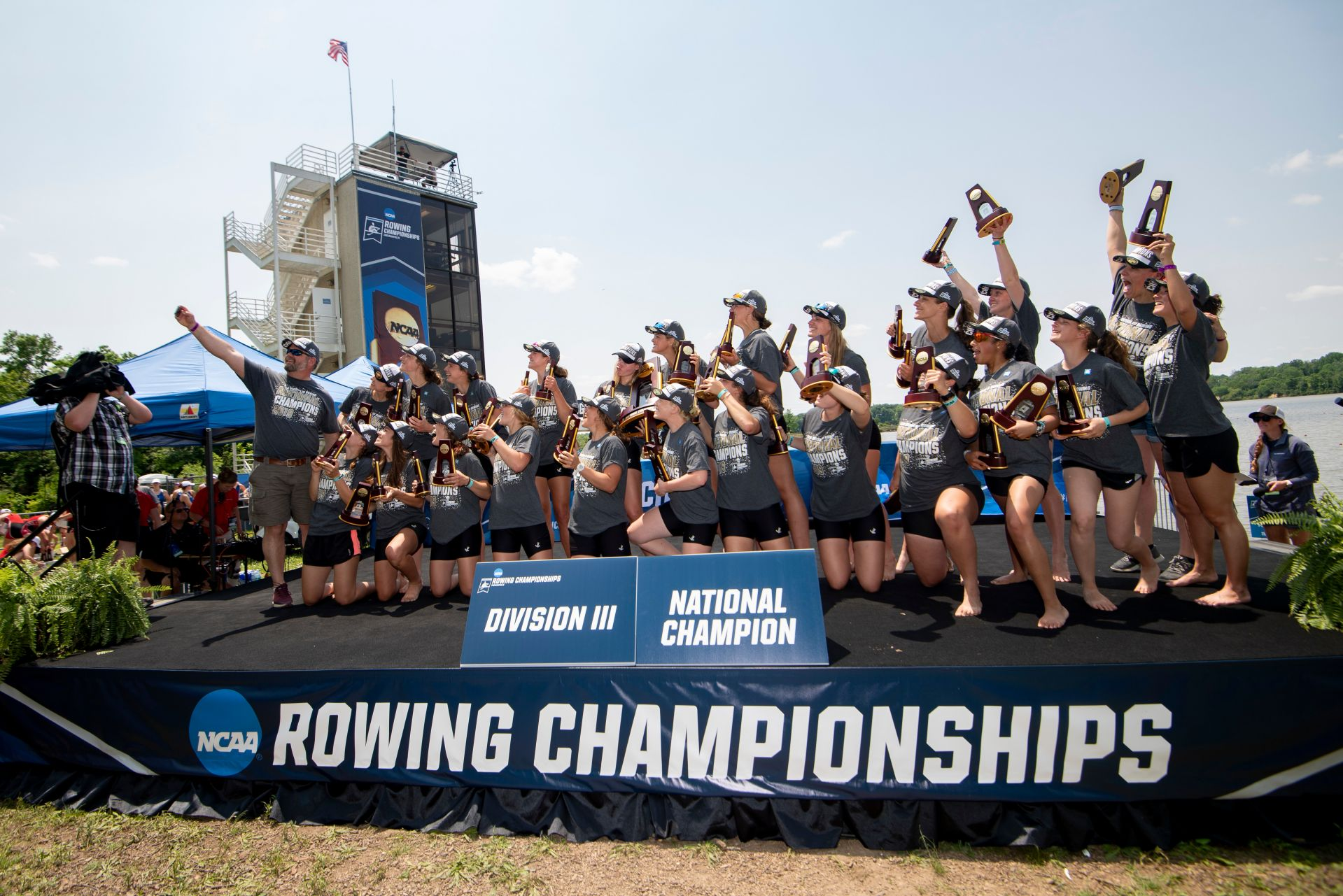 INDIANAPOLIS, IN - JUNE 01: Bates College celebrates winning the Division III Women's Rowing Championship held at the Indianapolis Rowing Center on June 1, 2019 in Indianapolis, Indiana. (Photo by Justin Tafoya/NCAA Photos via Getty Images)