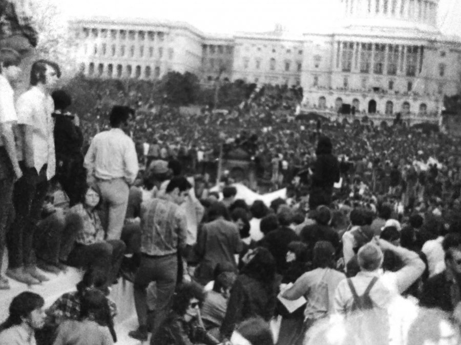 Mac Herrling took this photograph of protestors gathered on the National Mall during the historic April 1971 protest against the Vietnam War.