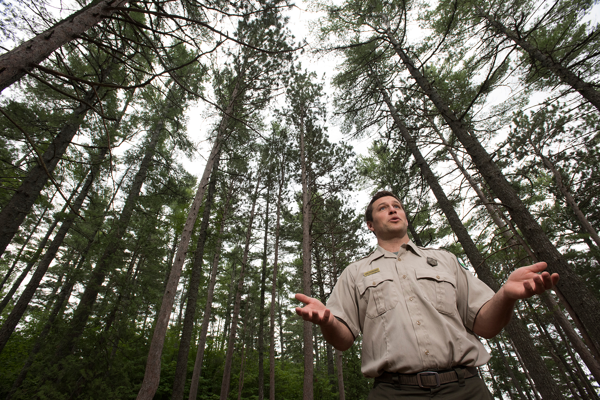 Baxter State Park, Maine—08-03-2018— Eben Sypitlowski answers question about Baxter State Park and the furture of the park under his direction as the newest director of the park. Kevin Bennett Photo