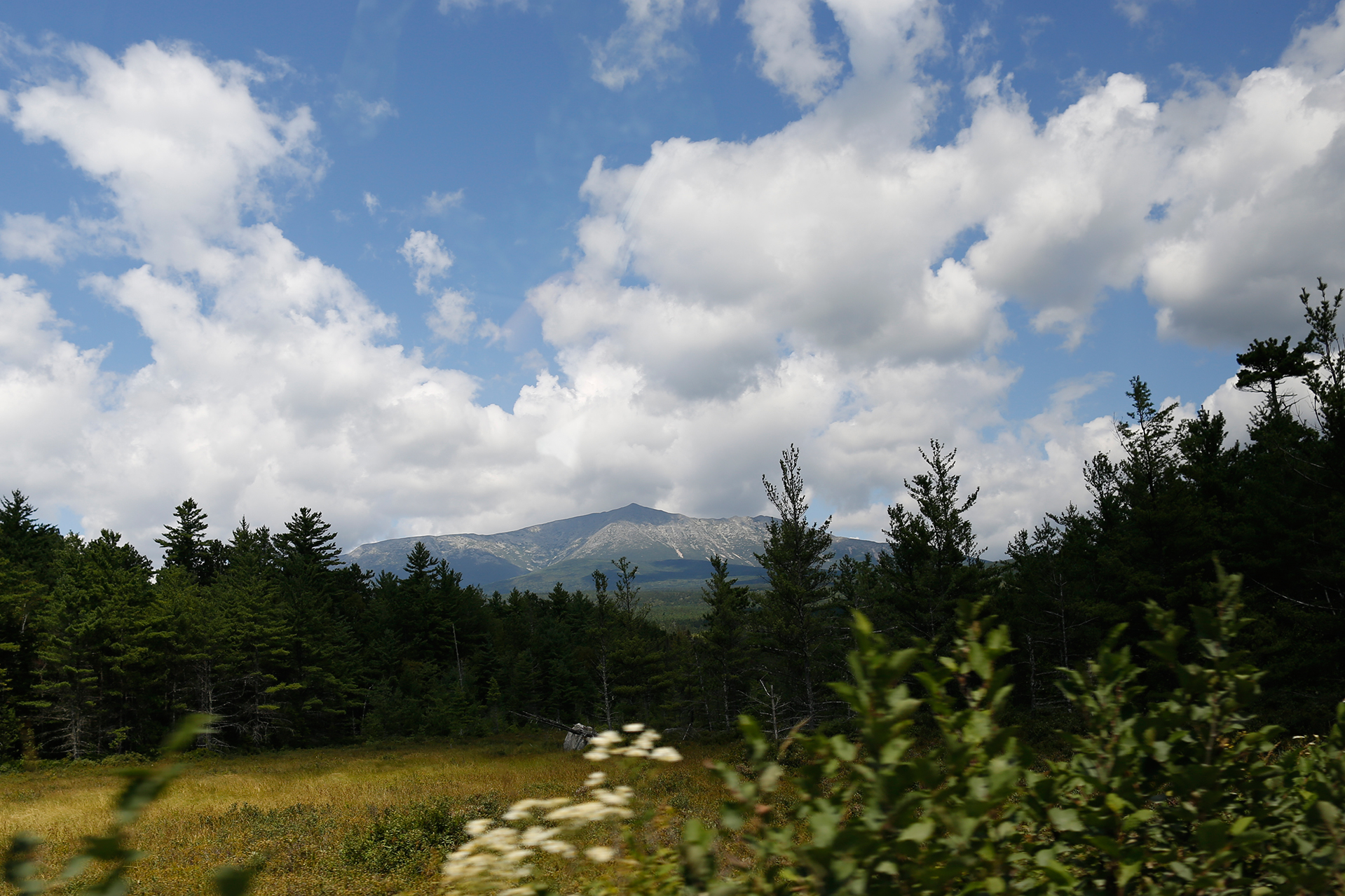 Katahdin, seen from a van carrying a Bates AESOP expedition to Baxter State Park in 2013. (Mike Bradley/Bates College)