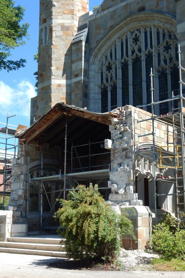 """The ongoing """"destructive investigation"""" of the Gomes Chapel portico will reveal the feature's fundamental structural health. (Doug Hubley/Bates College)"""