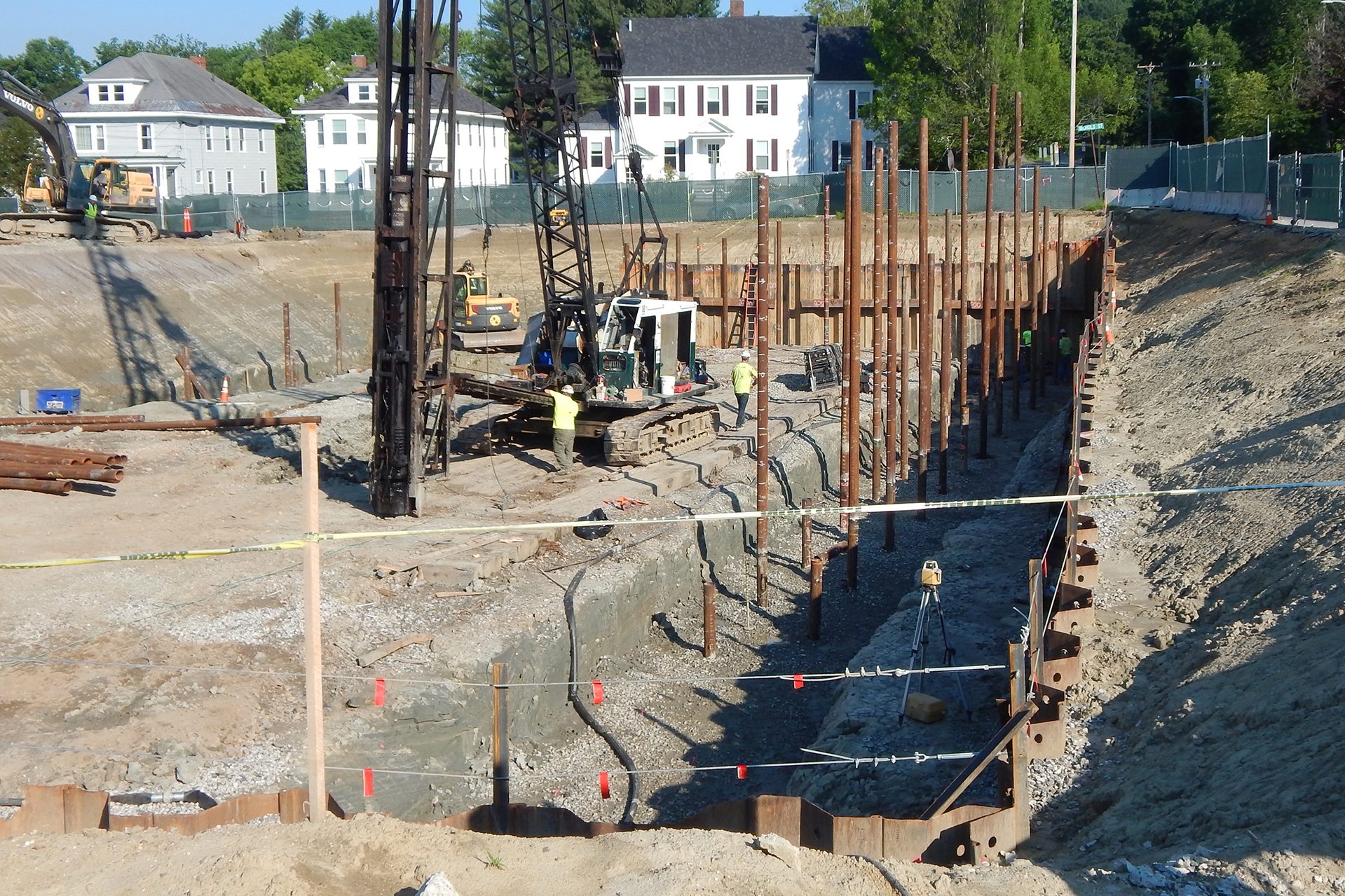 Pipe up: Spliced pipe piles in the Bonney Science Center foundation hole on July 3, 2019. (Doug Hubley/Bates College)