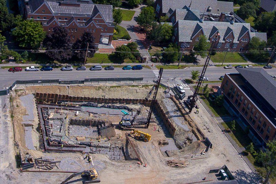 Construction for the new Bates College Science building is well underway at the corner of Campus Avenue and Bardwell Streets in Lewiston as seen on Thursday afternoon August 1, 2019.