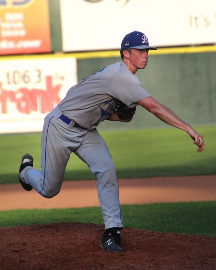 Miles Michaud pitches for the Bristol Blues on July 21. (Photograph by Peggy Arend)