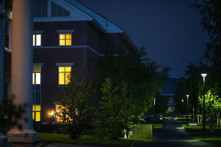 Night just after a summer rain.Pettengill Hall, Alumni Walk