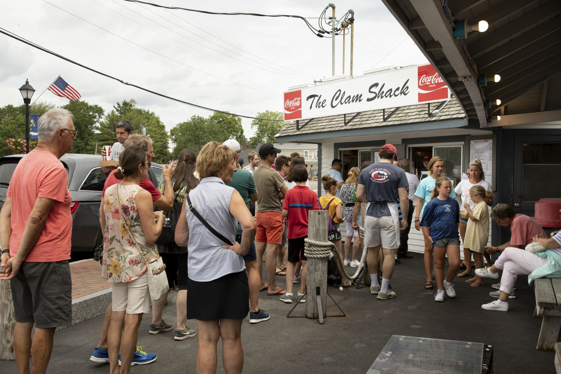 A daily site in Kennebunk on any summer day: a line of tourists waiting to place their order at the Clam Shack. (Phyllis Graber Jensen/Bates College)