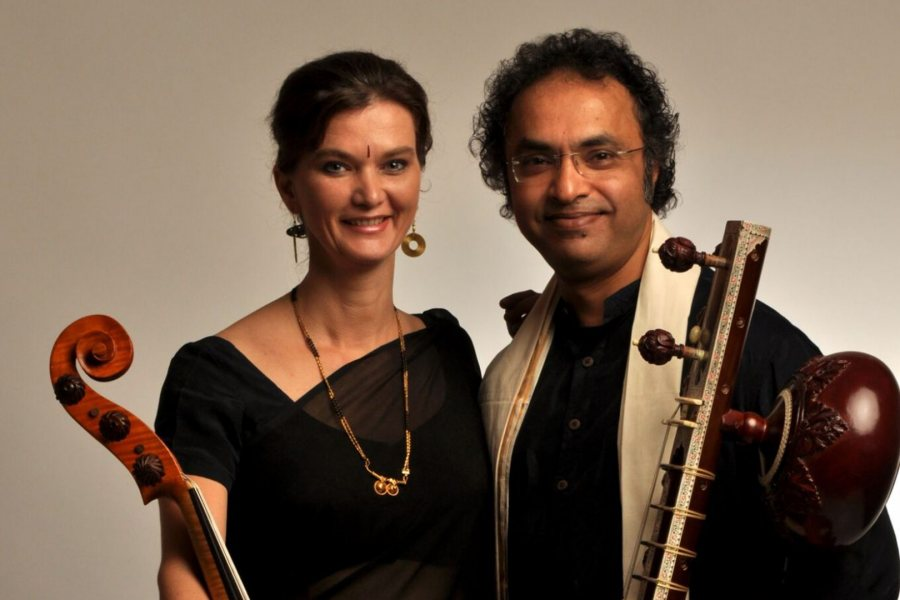 Saskia Rao-de Haas, pioneer of the Indian cello, and sitar master Shubhendra Rao perform at Bates on Sept. 29.