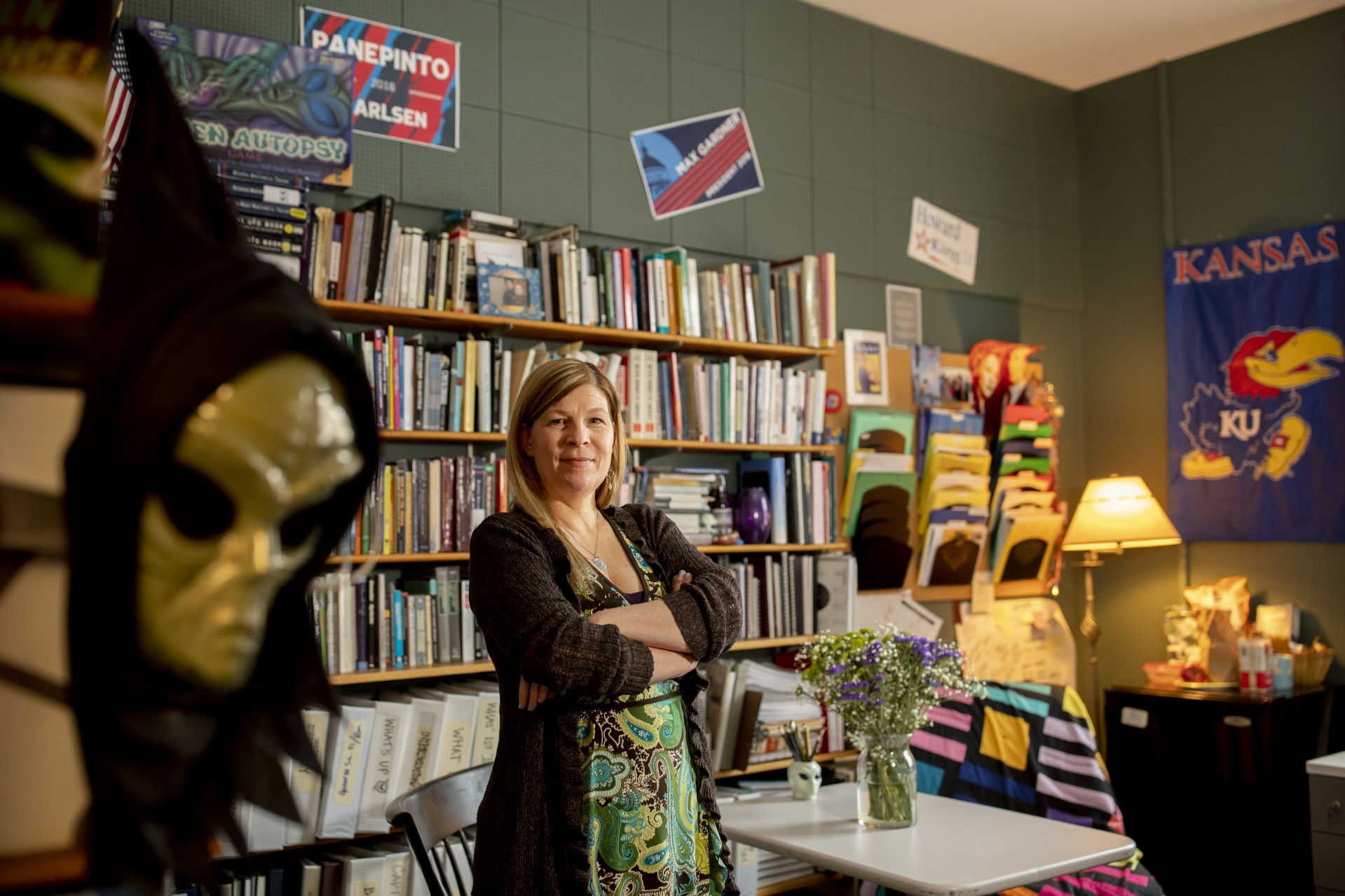 Associate Professor of Rhetoric, Film, and Screen Studies Stephanie Kelley-Romano in her Pettigrew Hall Office.