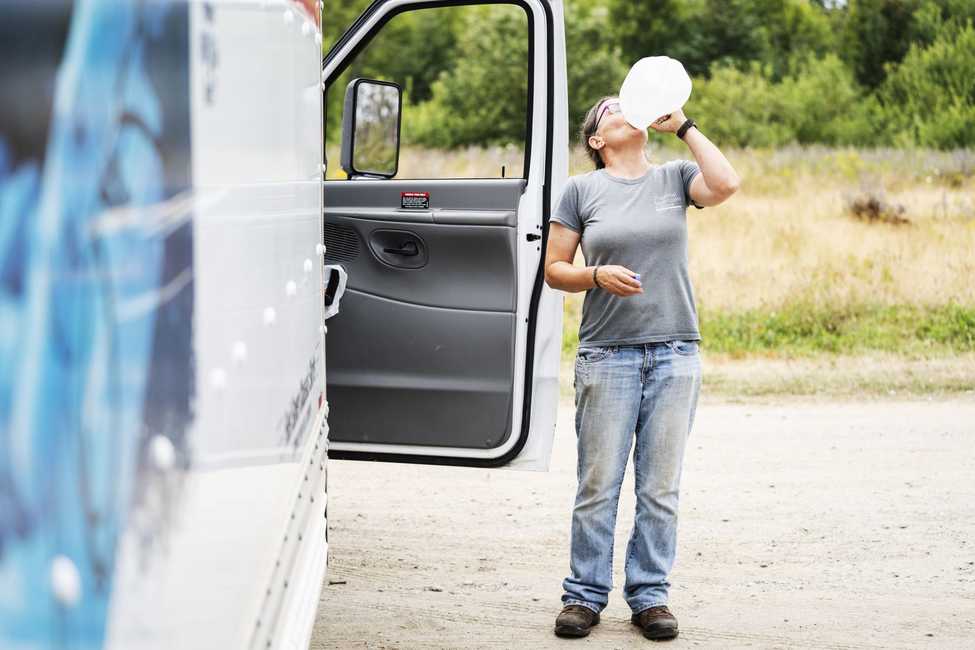 Eva Meltzer Murray Õ85 stops for a hydration break while loading a U-Haul full of recycling to be delivered mainland on August 7, 2019.A book author and essayist, sheÕs been a year-round resident of Matinicus Island for more than 30 years, starting as a teacher and now a leading island citizen involved in many island issues.